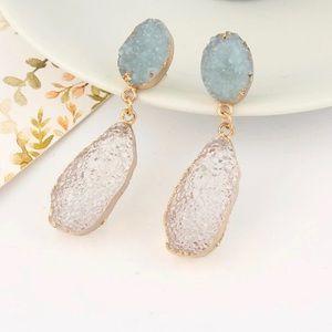 Blue & Chanpagne Druzy Earrings